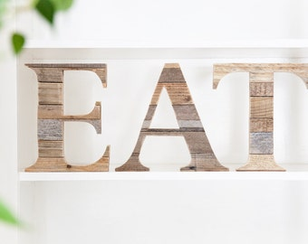 Eat Sign, Farmhouse Decor, Rustic Home Decor, Rustic Wall Decor, Eat Letters, Rustic Kitchen Decor, Farmhouse Wall Decor, Wood Letters