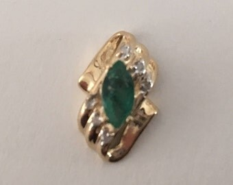 Vintage Solid 14K Yellow Gold Marquise Emerald & Diamond Pendant for a Necklace, Genuine Natural Emerald
