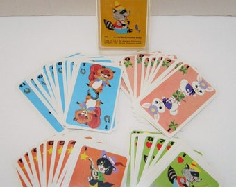 Card Game Kids Game Hearts Playing Cards Animal Cplt Deck Vintage Games Squirrel Bunny Rabbit Raccoon Cat Scrapbook Paper Craft Supplies 60s
