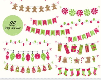 Christmas Bunting Banners, String Lights Clip Art, Christmas Bunting Red Green Clipart, Instant Digital Download Vector Clip Art