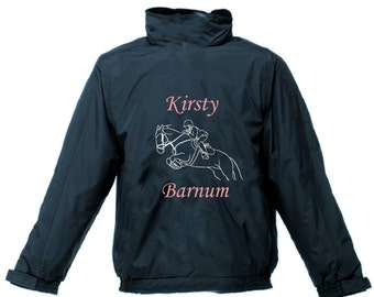 PERSONALISED RIDING JACKET Waterproof With Hood Printed Horse Pony Show Jumping Regatta Adult Kids