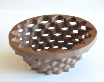 Handmade Black Walnut Scroll Saw Bowl   Candy Dish   Office Gift For Him    Christmas