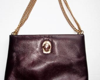 Vintage Ruth Saltz Genuine  Leather Chain Link Lion Head Shoulder Bag