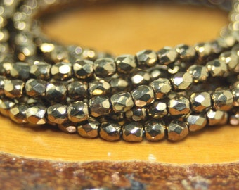 3mm Czech Firepolish, Faceted Round, 50 Beads, Metallic Bronze