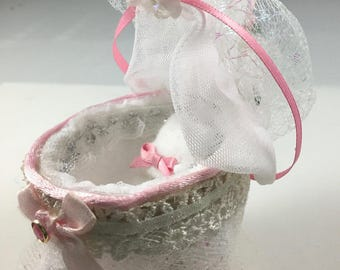 Fairy Cradle Bassinet Doll Bed Pink Lace Roses Shabby Chic Dollhouse Furniture