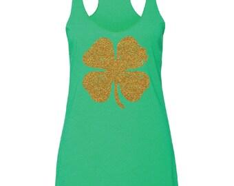 St Patricks Day Shirt. St Patty's Day Tank. Shamrock Shirt. St Patricks Day Tee. Shamrock Tank. Shamrock Tee. Gold Glitter Shamrock Tank.