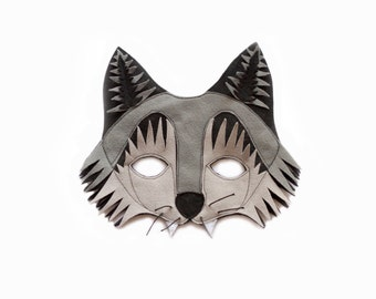 WOLF Felt Mask - Woodland Animal Mask - Gray Wolf costume - Toddler children adult mask - Pretend play - dress up mask - pretend play mask