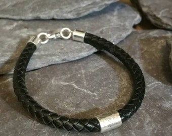 Men's Bracelet Contemporary  Leather and Sterling Silver Bracelet Braided Statement  Men's Leather Bracelet,  Casual Leather Men's Bracelet