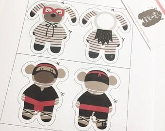 Super Doggy & Ninja Monkey DIY art prints. Nursery Wall art. Nursery Decorating Ideas. Goodie bag ideas. Birthday gifts.