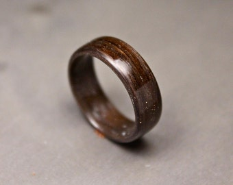 Wood Ring, Dark Brown Ring, Woodland Ring Walnut Band, Forest Ring, Mens Womens Rustic Wedding Ring.