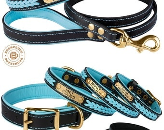 Braided Leather Dog Collar with Name Plate Personalized Custom