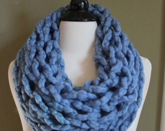Blue Arm Knit Infinity Scarf