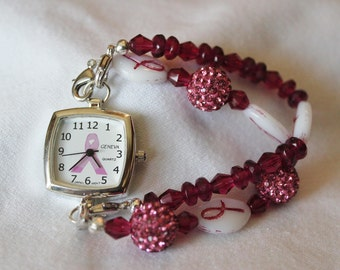 Breast Cancer Awareness Interchangeable Beaded Stretchable Watch Bands for Existing Watch Face