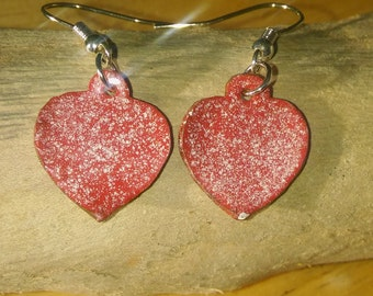 Red enamel earrings, Enamel earrings, Enamel jewellery, Copper Jewellery, Dangle earrings, Drop earrings, Birthday gift, Bridesmaid gift,