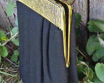 Black Clutch/Purse With gold floral print clasp/vintage clutch/evening clutch