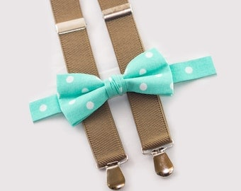 infant bow tie and suspenders mint bowtie & tan suspenders baby boy birthday outfit