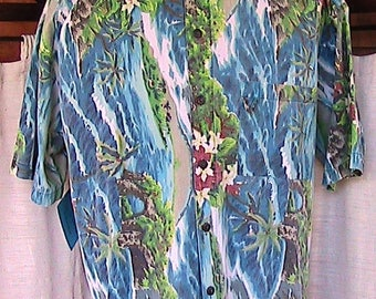 Large Roundy Bay tropical 1980s vintage Cotton Short Sleeve Shirt