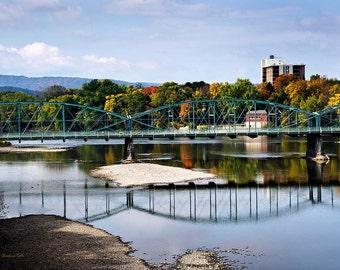 Landscape Photography, Scenic Picture, Landscape Print, City Prints, Binghamton New York, South Washington Street Bridge, Susquehanna River