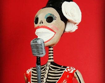 Billie Holiday, Catrina, Day of the dead, sculpture, skeleton, hand made, paper mache, figure, mexican art, Skull, fan art