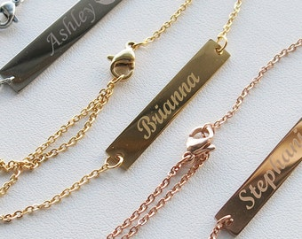 Personalized Bar Bracelet, Engraved Bracelet, Roman Numerals Custom Name Gold bar Bracelet Nameplate, Monogram Bracelet, Bridesmaid gift