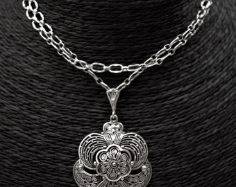 UNIQUE Vintage Art Nouveau Silver Necklace Vintage Orchid Necklace Egyptian Revival Falcon Necklace Vintage Egyptian Falcon Necklace 1960s