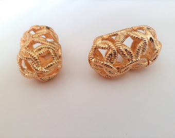 Large gold-plated filigree oval perforated tube