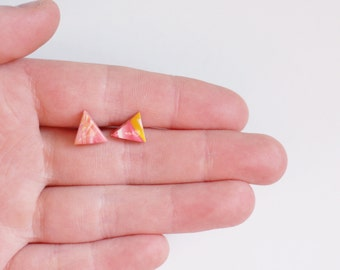Triangle Stud Earrings, Marbled Pink and Yellow Clay Earrings