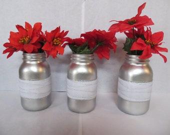 Silver Painted Quart Mason Jars (Set of 3)