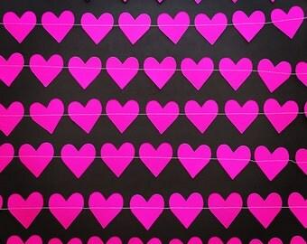 Pink Love Heart Paper Garland