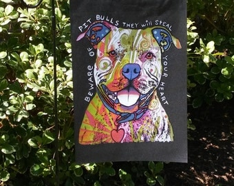 Pitt Bull will Steal Your Heart Dog Dogs Black Garden Flag--Dean Russo Art
