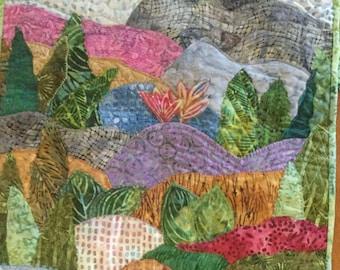 landscape quilt, batik fabric, quilt block, quilt wall hanging, quilt hanger, home decor wall art, wedding, birthday, housewarming, plant