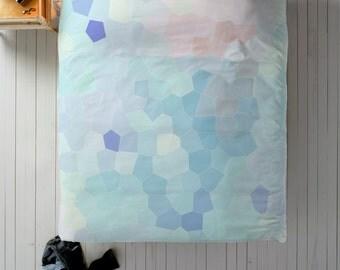 Geometric Duvet, Blue Duvet, Queen Duvet, King Duvet, Twin Duvet, Minimal Bedroom Decor, Minimal Duvet Cover, Cute Bedding, Purple Duvet