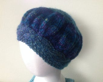 Hand KNIT Cabled HAT Tam Beanie Cap Beret