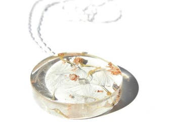 dandelion wish necklace, dandelion pendant, resin jewelry, real dandelion and copperflake, sterling silver, dandelion jewelry, nature lovers