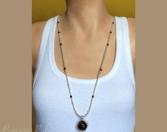 Garnet Pendant - Natural Raw Garnet Necklace - Silver Necklace - Silver Solder Pendant - Gemstone Jewelry - January Birthstone - Gift