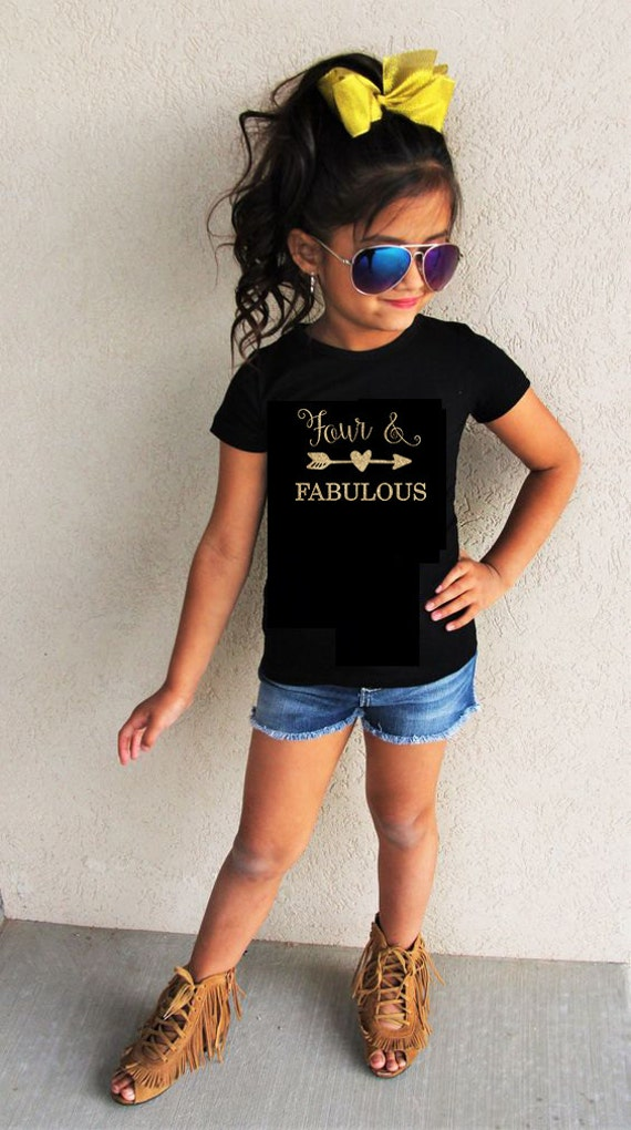 Fourth Birthday Shirt Four And Fabulous Birthday Shirt Kids