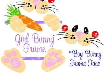 Bunny Face SVG Bag Tote Name Frame