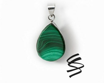 Teardrop Malachite Silver Pendant Natural Stone Malachite Green Sterling Silver Pendant Wedding Jewelry Healing Crystal Birthstone Gemstone