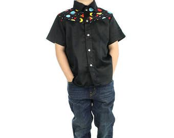 Outer Space Boy's Snap Top