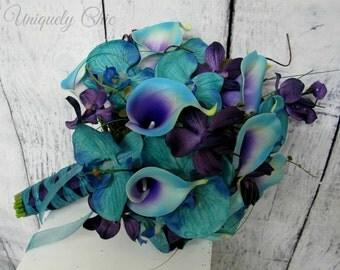 Wedding bouquet, Turquoise purple blue orchid calla lily bridal bouquet, Purple silk wedding flowers, Blue purple bridesmaid bouquet