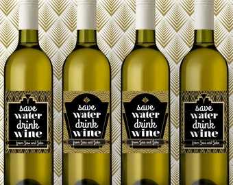 Custom Wine Labels, Wine Stickers, Personalized Wine Label, Save Water Drink Wine Labels