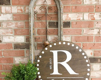 Family Name  Sign, Established Sign, Round Wood Sign, Initial Sign