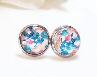 Fish Earrings, Fish Glass Dome  Earrings, Summer Jewelry, Silver Stud Earrings,Marine Fish Earrings, Beach Jewelry,Beach Wedding Earrings