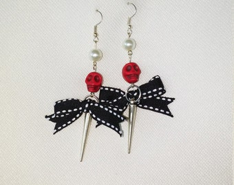 Skulls and bows earrings