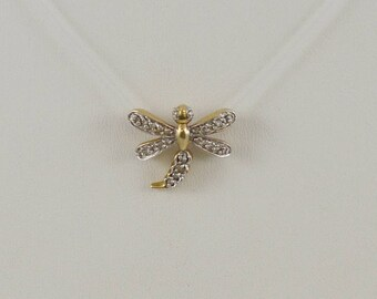 14k Yellow Gold Diamond Accented Dragonfly Pendant