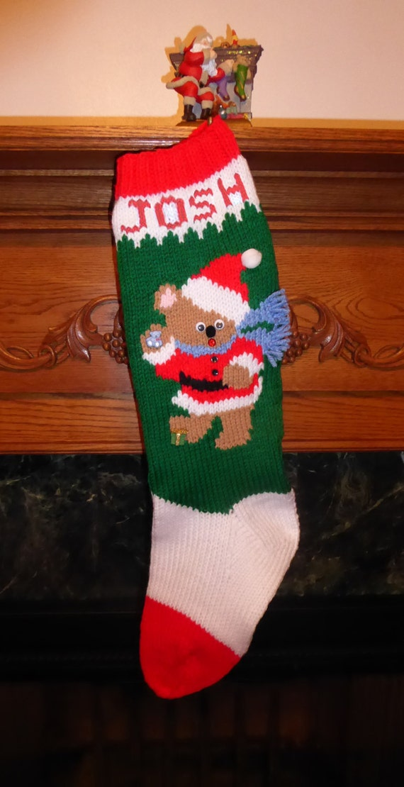 Knit Pattern For Christmas Stocking Kit : Knitted Christmas Stocking Kit A Christmas Bear