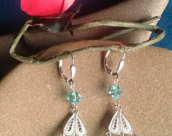 Silver earrings, Silver 925, aquamarine crystals, swarovski crystals, woman, birthday gift