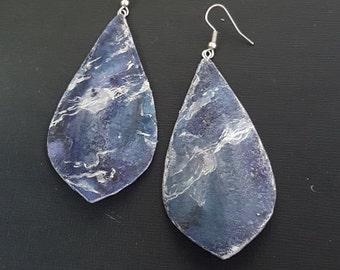 Blue watercolour earrings | Recycled earrings | Paper earrings | Watercolor earrings