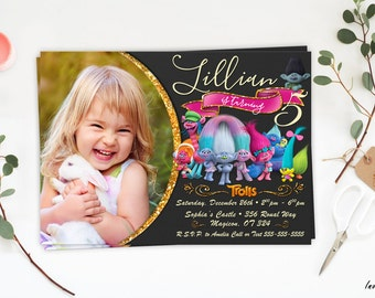 Trolls Invitation, Trolls birthday, Troll invitation, Dreamworks Trolls invite, Trolls party, Trolls Printables, troll birthday invitation