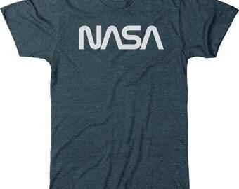 NASA 70s Worm White Logo Men's Tri-blend T-Shirt